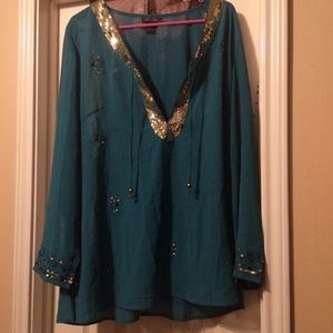 Turquoise and gold Sequin sheer formal tunic 18/20